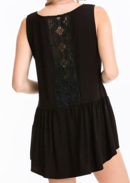 Black Ruffled Tank with Crochet Back Detail - Made in USA