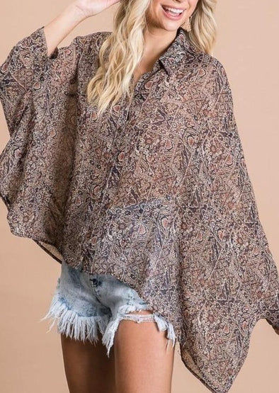 Oversized Chiffon Boxy Button Down Blouse -  BucketList - Best Dressed, Blouse, Bohemian, BoHo, Brown, Cardigan, Clothes, Featured, made in usa, oversized, Pattern, Poncho, Retro, Shirt, Spring, Summer, Vintage, Winery, Women - Classy Cozy Cool