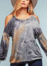 Load image into Gallery viewer, Bubble Sleeve Tie Dye Cold Shoulder Top