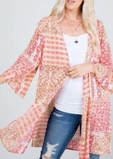 Coral Patterned Kimono - Classy Cozy Cool - Tops -  P & Rose - beach, coral print, Featured, Kimono, made in usa, Pattern, pink, Plus, Spring, Spring Top, Summer, vacation