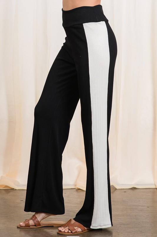 Color Block Black/White Soft Ribbed Pants
