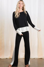 Load image into Gallery viewer, Color Block Black/White Soft Ribbed Pants