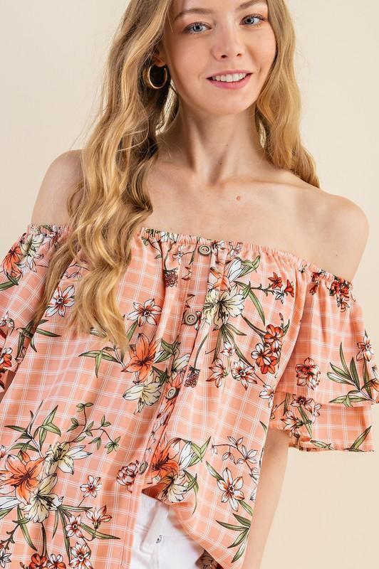 Blush Checkered Off the Shoulder Top with Ruffle Sleeves -  143 Story - Best Dressed, Blouse, Blush Peach, Clothes, Featured, Floral Print, made in usa, Off The Shoulder, Ruffle Sleeve, Shirt, Spring, Summer, vacation, Women - Classy Cozy Cool