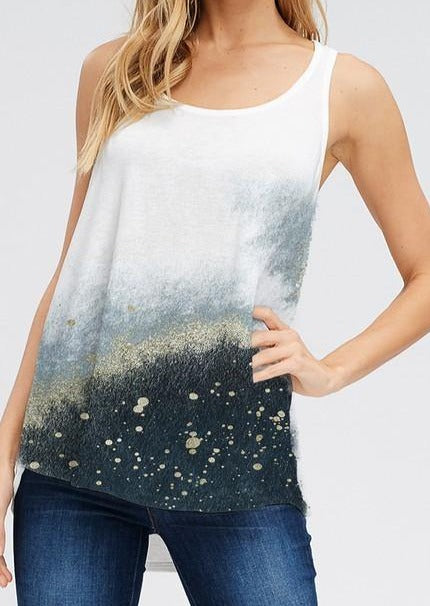 Black and Gray Tie Dye with Gold Paint Splatter Racer Back Tank - Classy Cozy Cool - Tops -  Phil Love - Lounge, Loungewear, made in usa, Plus, Racer Back, soft, Summer, Tank top, tie dye