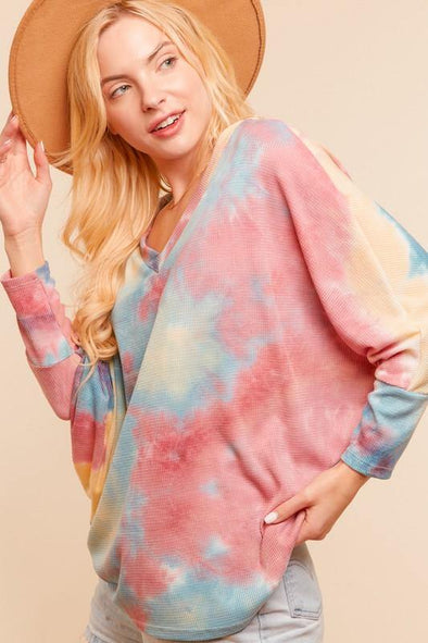 V-NECK 3Q DOLMAN SLEEVE TIE DYE  SLOUCHY - Classy Cozy Cool - Tops -  Haptics - Lounge, Loungewear, made in usa, Spring, tie dye, Women's Clothing