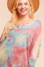 Load image into Gallery viewer, V-NECK 3Q DOLMAN SLEEVE TIE DYE  SLOUCHY