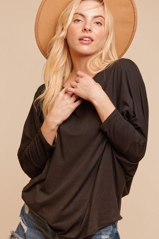 BLACK KNIT ROUND NECK DOLMAN 3/4 SLEEVE - Classy Cozy Cool - Tops -  Haptics - Black, Dolman Sleeve, Hacci Top, made in usa, soft, Wardrobe Essentials