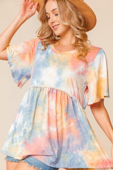 TIE DYE BABY DOLL FLUTTER RUFFLE SLEEVE - Classy Cozy Cool - Tops -  Haptics - beach, Beach Wear, Best Dressed, BoHo, Featured, made in usa, Plus, soft, Spring, Summer, vacation, Women's Clothing
