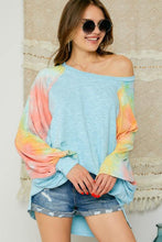 Load image into Gallery viewer, Light blue oversized top with tie dye bubble sleeves