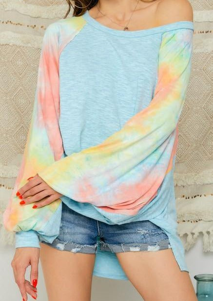 Light blue oversized top with tie dye bubble sleeves