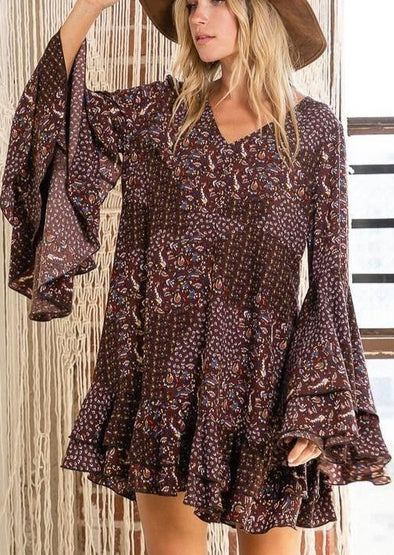 Floral Print Tiered Ruffle Mini Dress -  BucketList - Best Dressed, Bohemian, BoHo, Brown Multi, Clothes, Date Night Dress, dress, Dresses, Fall, Made in America, made in usa, Mini Dress, Mini Floral Pattern, Spring, Tier, V-Neck, Vintage, Winter, Women - Classy Cozy Cool