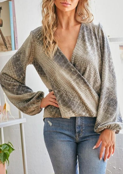 Premium Snake Print Wrap Detail Top - Classy Cozy Cool - Tops -  CY - Animal Print, Best Dressed, Bubble Sleeve, Fall, Featured, made in usa, soft, Spring, Women's Clothing, Wrap Top
