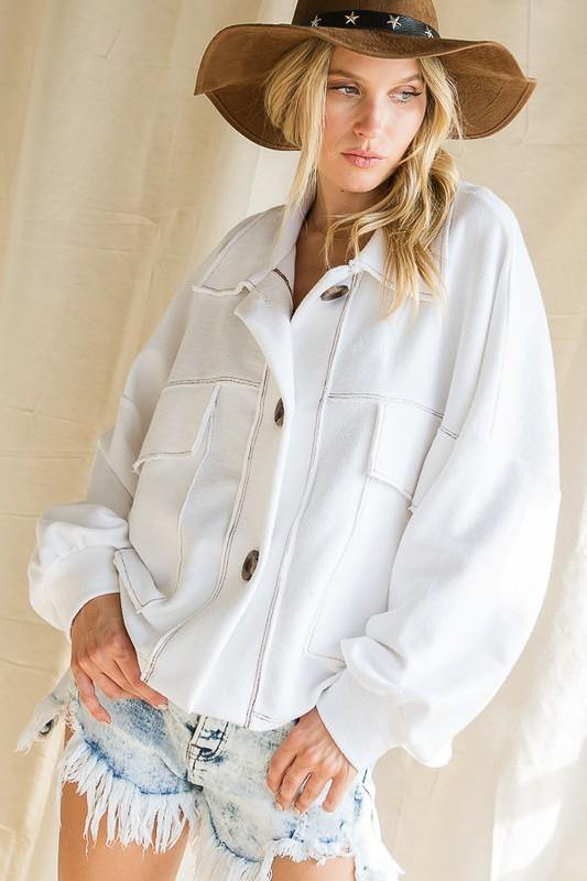 Oversized French Terry Cotton Jacket - Classy Cozy Cool - Tops -  BucketList - Bohemian, BoHo, Featured, French Terry, Lounge, Loungewear, made in usa, soft, Spring, Wardrobe Essentials