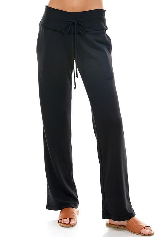 PREMIUM FULL LENGTH SOLID FRENCH TERRY FLARE PANTS BLACK