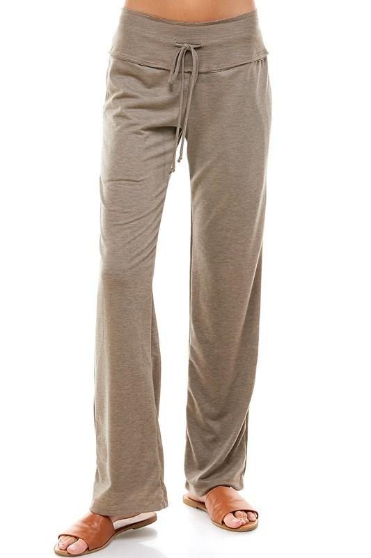 Boot Cut Traveler's Drawstring Pants | Tan -  Loving People - Bottoms, Clothes, Lounge, made in usa, Pants, soft, Spring, Tan, Travel Pants, Wardrobe Essentials, Women, Women's Clothing - Classy Cozy Cool
