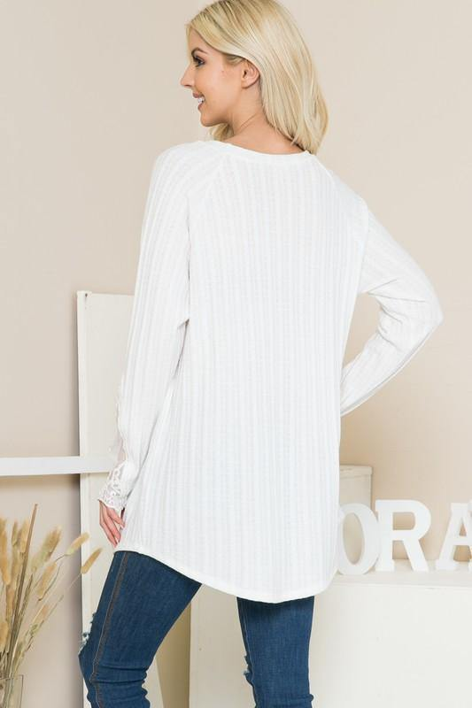 White Long Sleeve Lace Detail Knit Top -  Orange Farm Clothing - Blouse, Clothes, Featured, Lace Detail, Long Sleeve, Lounge, Loungewear, made in usa, Off White, Shirt, soft, Spring, Wardrobe Essentials, Women, Women's Clothing - Classy Cozy Cool