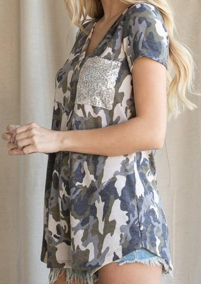 Camo Print Women's Top with Sequence Pocket -  BucketList - Blouse, BoHo, Camo, Clothes, Featured, Lounge, Loungewear, made in usa, Plus, sequence, Shirt, soft, Spring, Summer, Wardrobe Essentials, Women, Women's Clothing - Classy Cozy Cool