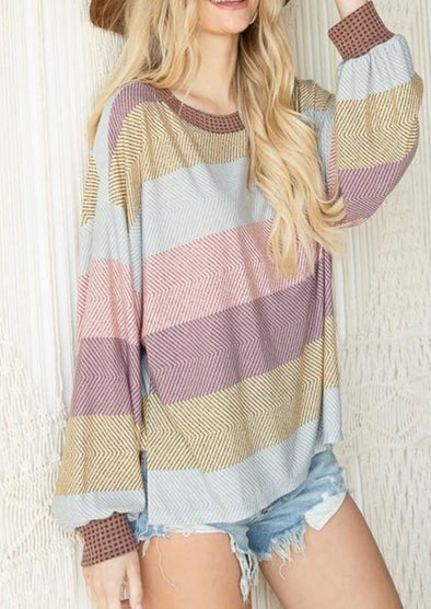 Color Block Drop Shoulder Soft Jersey Mauve Multi Print Striped Top -  BucketList - Blouse, Clothes, Lounge, Loungewear, made in usa, matching sets, mauve, pink, Shirt, Spring, Striped, Summer, Women - Classy Cozy Cool