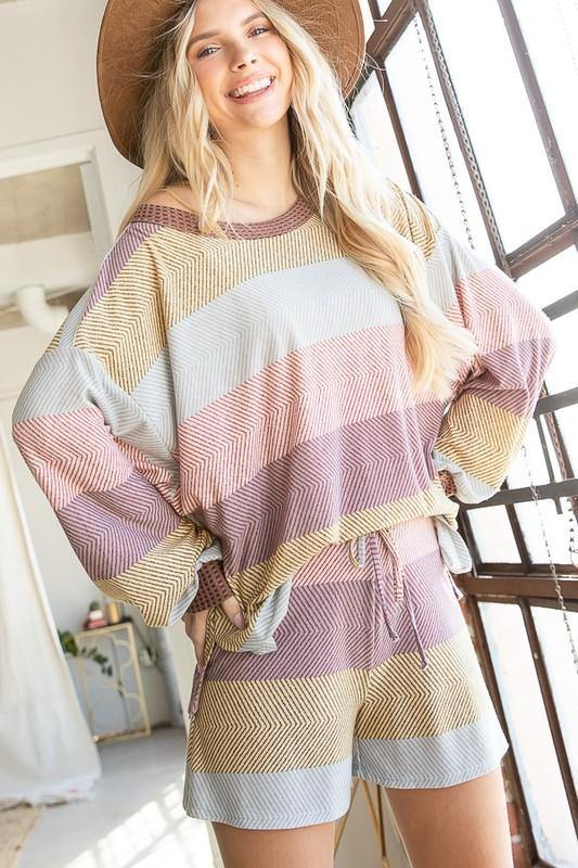 Soft Jersey Mauve Multi Print Striped Shorts - Classy Cozy Cool - Pants -  BucketList - Featured, Lounge, Loungewear, made in usa, matching sets, mauve, pink, Shorts, Spring, Striped, Summer