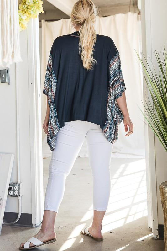 V-Neck Vintage Bohemian Poncho Tunic - Classy Cozy Cool - Tops -  Jade by Jane - beach, Beach Wear, Bohemian, BoHo, made in usa, oversized, Pattern, Spring, Summer, Tunic, vacation