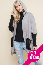 Load image into Gallery viewer, Hooded Half Sleeve Poncho Plus Cardigan with Faux Leather Pockets