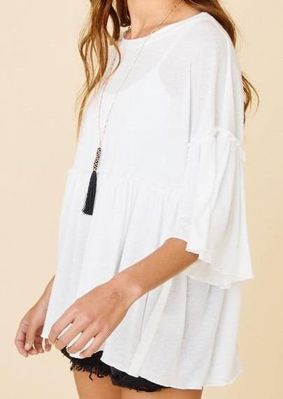 Ruffled Solid White Baby Doll Tunic Top -  Ces Femme - Beach Wear, Blouse, Bohemian, BoHo, Clothes, Featured, made in usa, Plus, Ruffle Hem, Ruffle Sleeve, Shirt, Spring, Summer, Tee Shirt, Wardrobe Essentials, White, Women - Classy Cozy Cool