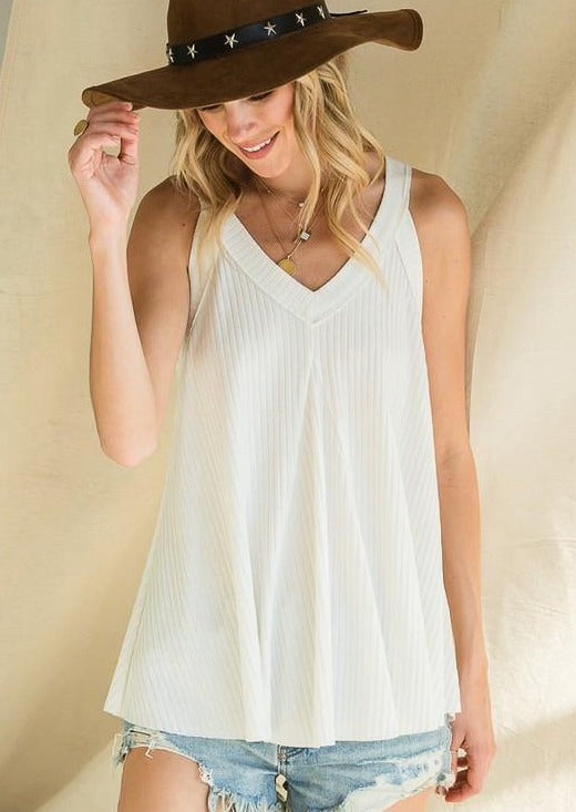 Rib Knit Soft Tank Flowy Silhouette -  BucketList - Blouse, Clothes, Featured, Lounge, Loungewear, made in usa, off White, Racer Back, Shirt, soft, Spring, Summer, Tank top, v neck, Wardrobe Essentials, Women, Women's Clothing - Classy Cozy Cool