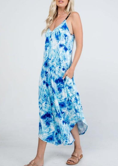 Tie Dye Blue/White V-Neck Jumpsuit with Pockets - Classy Cozy Cool - Sets and Jumpsuits -  P & Rose - aqua, beach, Beach Wear, Best Dressed, Blue, BoHo, Dress to Impress, Featured, Summer, tie dye, vacation