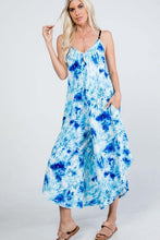 Load image into Gallery viewer, Tie Dye Blue/White V-Neck Jumpsuit with Pockets