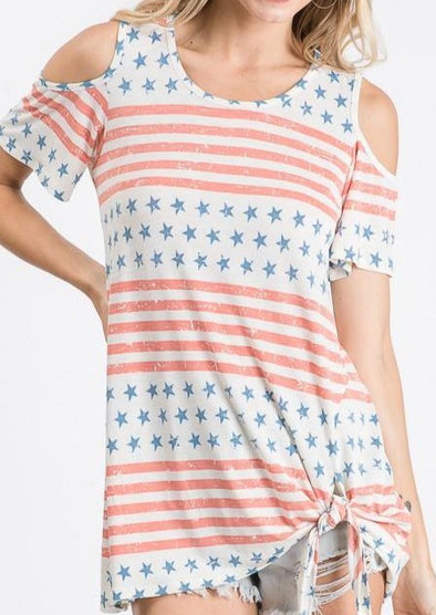 Cold Shoulder Stars and Stripes with Side Tie Detail - Classy Cozy Cool - Tops -  Hemish - 4th of July, beach, Cold Shoulder, made in usa, Memorial Day, Patriotic, Plus, soft, Spring, Summer