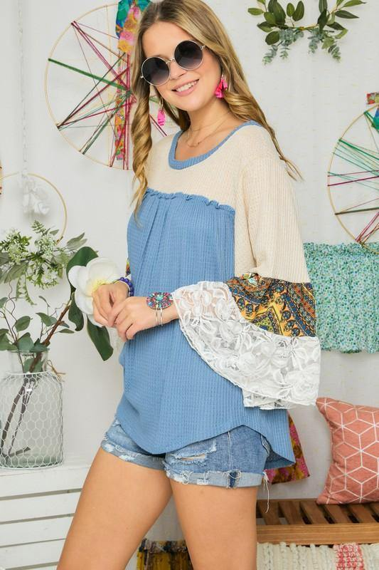 Lace Trim Bell Sleeve Waffle Top -  Adora - bell sleeve, Best Dressed, Blouse, Blue, Bohemian, BoHo, Clothes, Lace Detail, made in usa, Shirt, Spring, Summer, vacation, Waffle Top, Women - Classy Cozy Cool