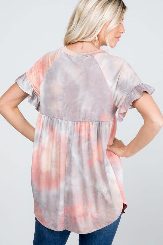 Baby Doll Ruffle Sleeve Women's Top - Classy Cozy Cool - Tops -  P & Rose - Baby Doll, babydoll, Gray, made in usa, pink, Plus, Ruffle Hem, soft, Spring, Spring Top, Summer, tie dye, Tunic, vacation