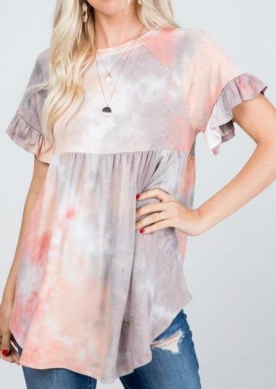 Baby Doll Ruffle Sleeve Women's Top -  P & Rose - Baby Doll, babydoll, Blouse, Clothes, Gray, made in usa, pink, Plus, ruffle sleeve, Shirt, soft, Spring, Spring Top, Summer, tie dye, Tunic, vacation, Women's Clothing - Classy Cozy Cool
