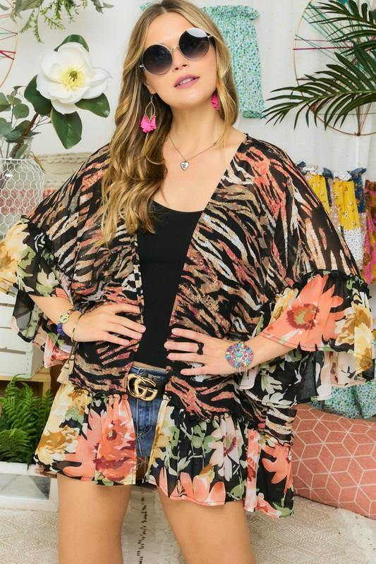 Colorful Floral and Zebra Kimono with Ruffle Sleeve and Hem -  Adora - beach, Beach Wear, Blouse, Blue, BoHo, Clothes, Featured, Floral Print, Kimono, made in usa, Pattern, Ruffle Hem, Ruffle Sleeve, Shirt, Spring, Summer, Women - Classy Cozy Cool