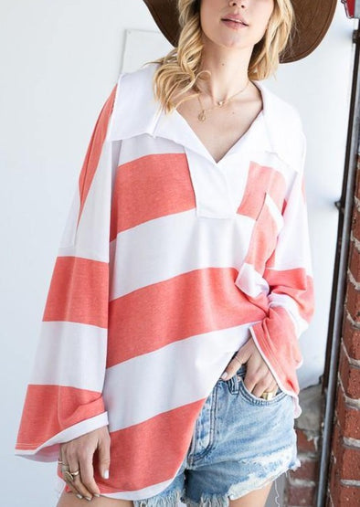 Soft Knit Striped Big Collared Pullover Sweatshirt -  BucketList - Big Collar, Blouse, BoHo, Clothes, drop shoulder, Featured, made in usa, oversized, Shirt, soft, Spring, stripes, Women - Classy Cozy Cool