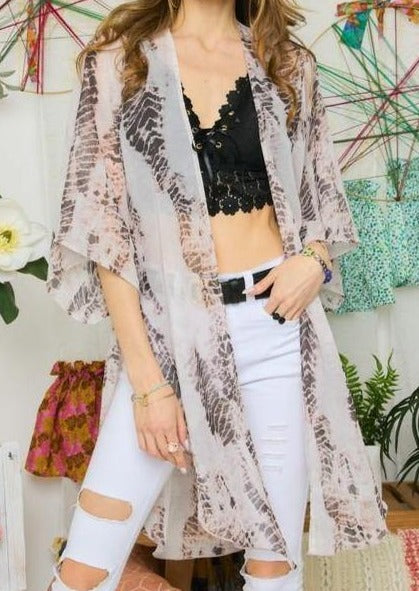 Chiffon Animal Print Kimono -  Adora - Animal Print, beach, Beach Wear, bell sleeve, Blouse, Cardigan, Chiffon, Clothes, Kimono, made in usa, Shirt, Spring, Summer, vacation, Women - Classy Cozy Cool