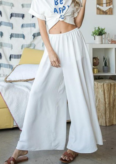 Ultra Wide Leg White High Rise Women's Pants -  BucketList - Best Dressed, Bohemian, BoHo, Bottoms, Clothes, Featured, Lounge, made in usa, Pants, Spring, Summer, vacation, White, White Party, Women, Women's Clothing - Classy Cozy Cool