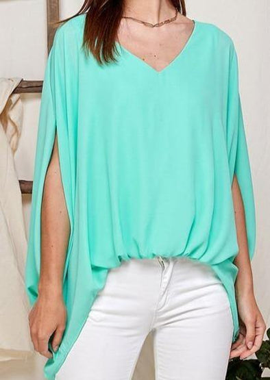 High Low V-Neck Mint Green Loose Fit Blouse -  Twenty Ten - Best Dressed, Blouse, Made in America, made in usa, Mint Green, Oversized, Spring, Summer, V Neck, Wardrobe Essentials, Women - Classy Cozy Cool