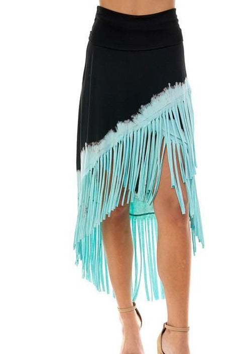 Fringe Detail Black/Aqua Tie Dye Skirt -  T-Party - aqua, beach, Beach Wear, Black, Bohemian, BoHo, Featured, Made in America, made in usa, Skirt, soft, tie dye, vacation, Women, Women's Clothing - Classy Cozy Cool