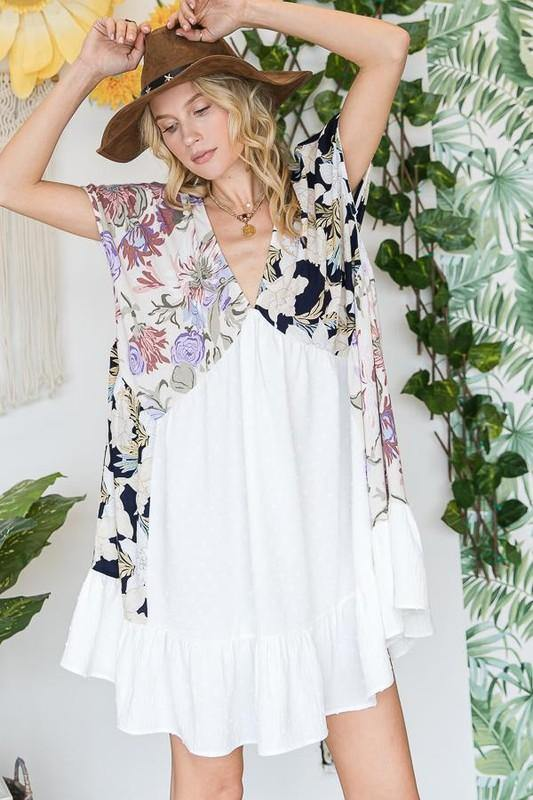Ruffle Hem Textured Baby Doll Mini Dress -  BucketList - Best Dressed, Bohemian, BoHo, Clothes, Dress, Dresses, Featured, Floral Print, Made in America, made in usa, oversized, ruffle, soft, Spring, Summer, v neck, vacation, white, Women, Women's Clothing - Classy Cozy Cool