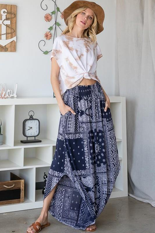 Wide Leg Paisley Print Pants - Classy Cozy Cool - Pants -  BucketList - Bohemian, BoHo, Featured, made in usa, Navy, Paisley, soft, Spring, Summer, Wide Leg