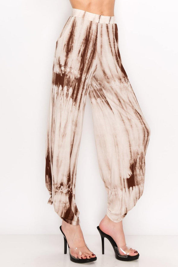 BoHo Tie Dye Pants in Tan - Classy Cozy Cool - Pants -  7th Ray - beach, Beach Wear, bohemian, BoHo, made in usa, Spring, Summer, Tan, Tie Detail, tie dye, Women's Clothing