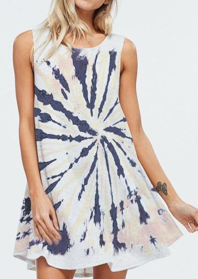 Twist Tie Dye Casual Mini Dress - Classy Cozy Cool - Dresses & Skirts -  Phil Love - beach, Beach Wear, BoHo, dress, Gray, made in usa, Plus, soft, Spring, Summer, tie dye, Tunic