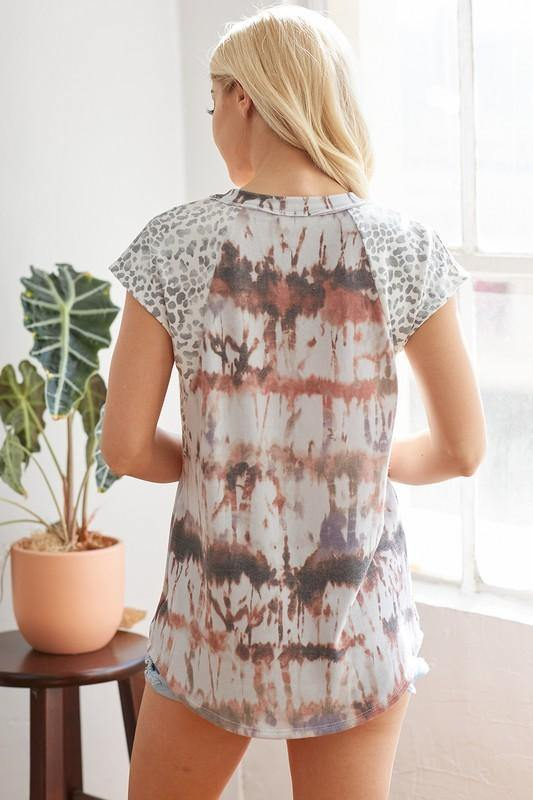 Mixed Media Animal Print and Tie Dye Top - Classy Cozy Cool - Tops -  Lovely Melody - Animal Print, Featured, Gray, Loungewear, Spring, Spring Top, Summer, tie dye