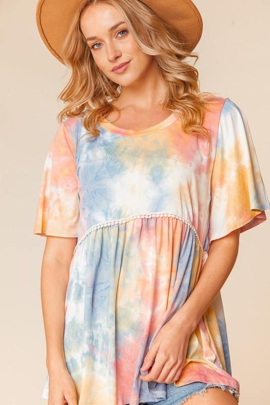 TIE DYE BABY DOLL FLUTTER RUFFLE SLEEVE -  Haptics - beach, Beach Wear, Best Dressed, Blouse, BoHo, Clothes, Featured, made in usa, Plus, Shirt, soft, Spring, Summer, vacation, Women, Women's Clothing - Classy Cozy Cool