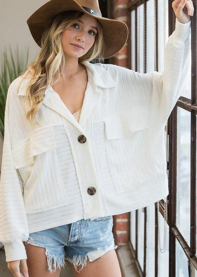 Soft Solid Rib Knit Cropped Shacket Top -  BucketList - Blouse, BoHo, Boxy, Clothes, Featured, Ivory, Jacket, made in usa, oversized, Pocket, Shirt, soft, Spring, textured, Women - Classy Cozy Cool