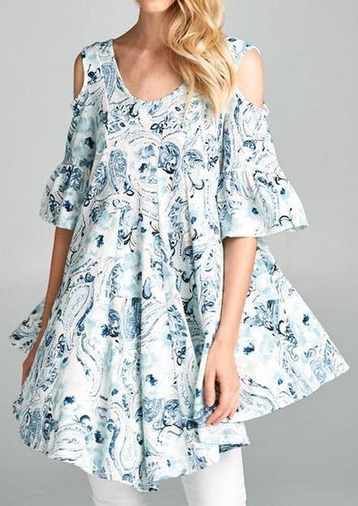 Cold Shoulder Floral Tunic -  Emerald Collection - Baby Doll, babydoll, bell sleeve, Blouse, Blue, Clothes, Floral Print, made in usa, Pattern, Shirt, Spring, Summer, Tunic, White, Women, Women's Clothing - Classy Cozy Cool