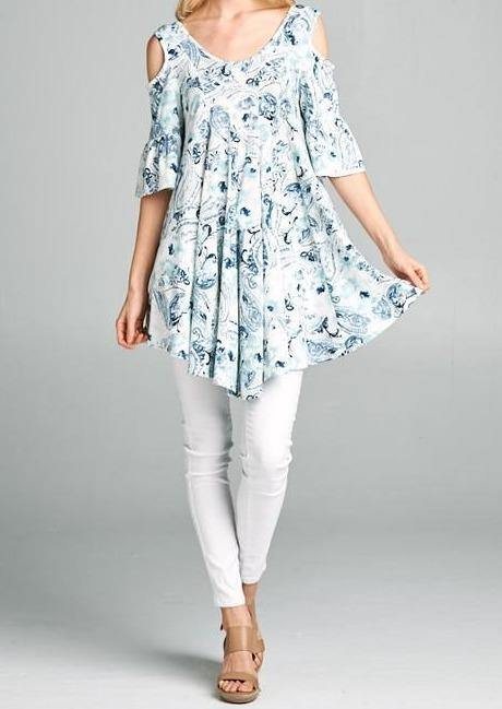 Cold Shoulder Floral Tunic - Classy Cozy Cool - Tops -  Emerald Collection - Baby Doll, babydoll, bell sleeve, Blue, Floral Print, made in usa, Pattern, Spring, Summer, Tunic, White, Women's Clothing