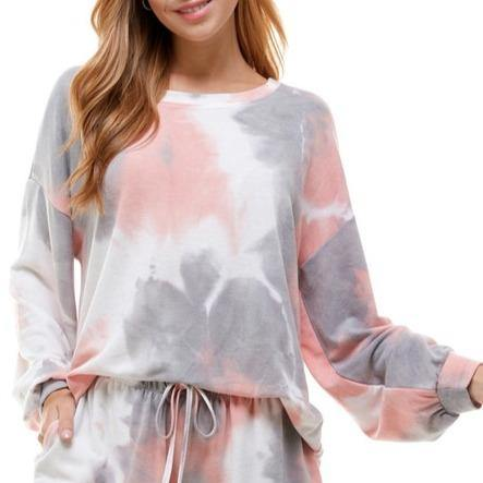 Pink and Gray Tie Dye Long Sleeve Lounge Top