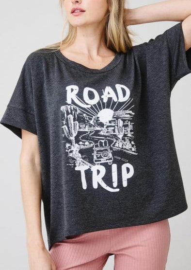 Road Trip Boxy Boat Neck Top -  Ces Femme - Black, Blouse, Boxy, Clothes, Featured, Lounge, Loungewear, made in usa, Shirt, Spring, Summer, vacation, Wardrobe Essentials, Women, Women's Clothing - Classy Cozy Cool